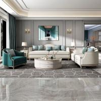 轻奢皮布沙发组合小户型美式实木高端家具现代简约意式客厅样板间