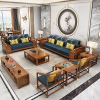 新中式全实木沙发组合现代简约储物贵妃橡木质小户型客厅轻奢家具