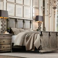 美式乡村实木床做旧1.8米双人床法式复古别墅样板房卧室定制家具