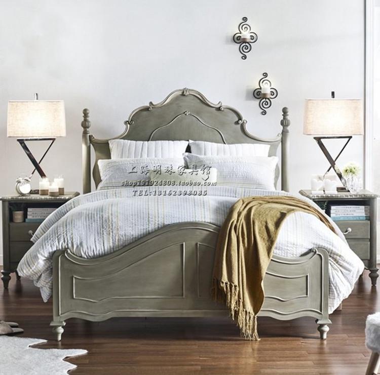 美式实木床法式复古做旧单人床公主床简约欧式轻奢双人床雕花家具