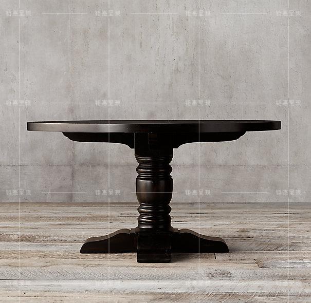 美式乡村风格法式复古圆餐桌欧式实木圆桌仿古做旧家具饭桌会议桌