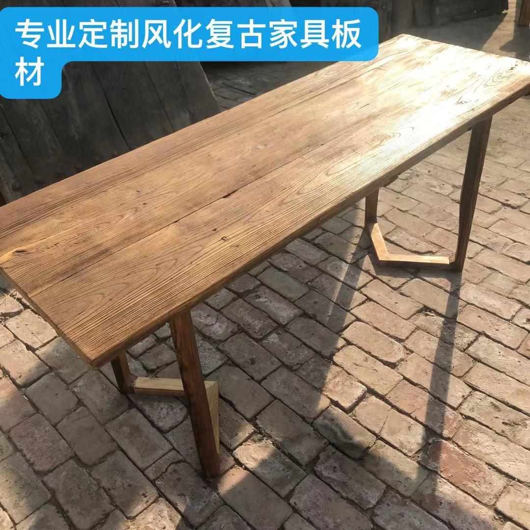 老榆木门板复古怀旧风化茶桌茶台旧门板旧木板民宿定制实木家具