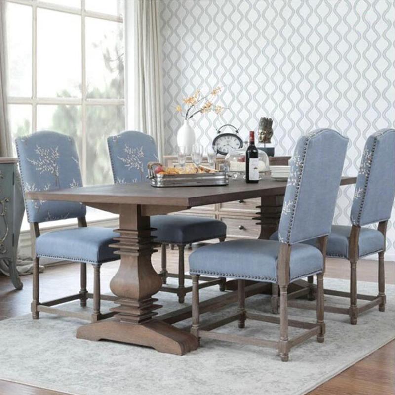 美式乡村复古长方形实木餐桌小户型做旧6人饭桌上海设计家用家具