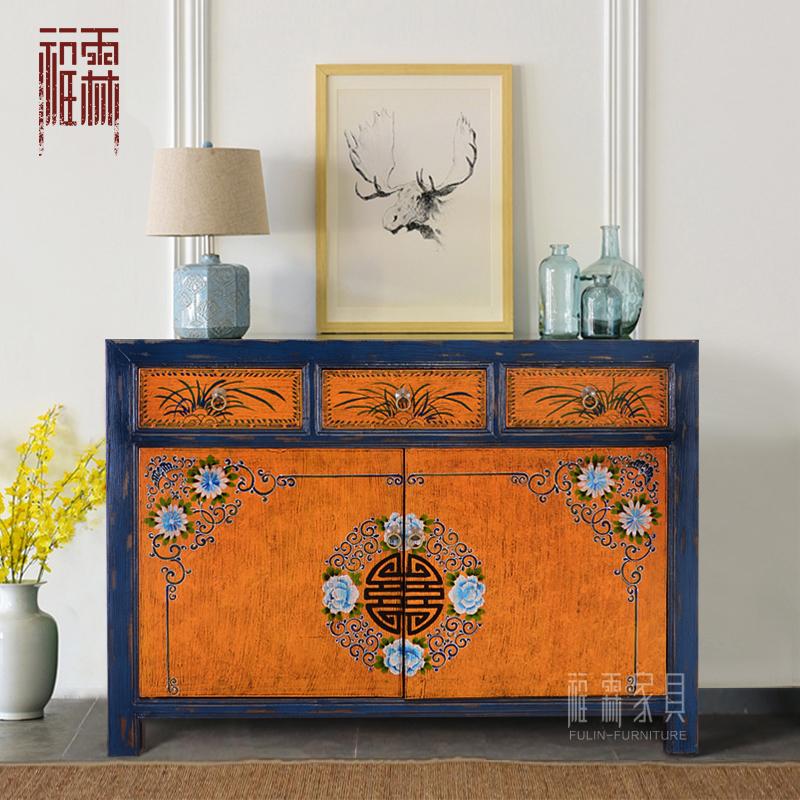 中式复古餐边柜彩绘收纳柜实木玄关柜储物碗柜做旧家具仿古摆设柜