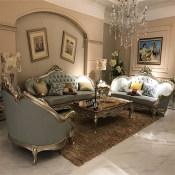 欧式真皮沙发 客厅豪华香槟金123组合实木雕花别墅简欧新古典家具