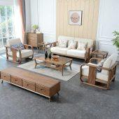 北欧客厅家具组合套装白蜡木实木沙发轻奢极简布艺沙发原木梦幻白