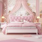 公主床少女梦幻城堡全实木欧式女孩粉色网红床单人房家具 儿童床