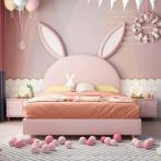 儿童床女孩公主床少女梦幻城堡单人床儿童房家具组合套装木兔子床