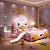 儿童床女孩公主床少女梦幻城堡带护栏卡通床儿童房间家具组合套装