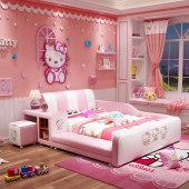儿童床女孩公主床少女梦幻城堡卡通榻榻米床儿童房家具组合套装