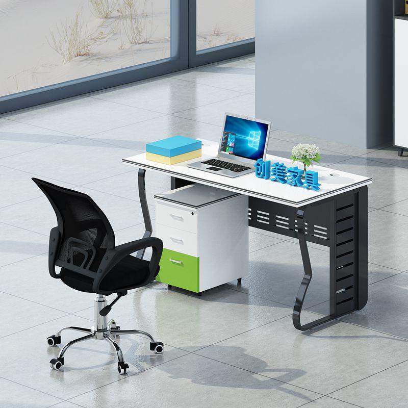 创美济南办公家具职员办公桌4人位简约现代员工电脑桌子桌椅组合
