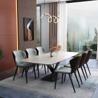栾瑞 餐桌轻奢岩板西餐桌椅组合意式后现代方型饭桌6-8人现代简约餐厅家具组合 米兰白1.4米(备注椅色) 单桌